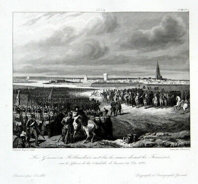 1840 Anvers Antwerpen bataille battle Ansicht estampe Stahlstich antique print