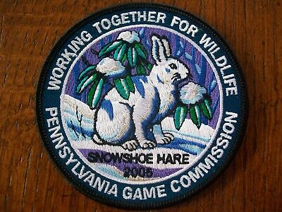 """Pa Pennsylvania Game  Commission  Bird  Patch 4"""" 2005 Snowshoe Hare  Wtfw"""
