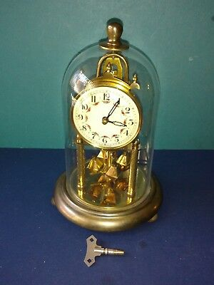 Vintage Euramca 400 Day Anniversary Clock, Glass Dome, Germany, Complete Running