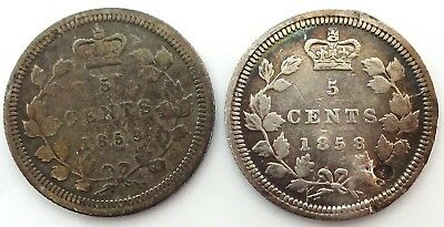 2 Canada 5 Cents Silver 1858 Large & Small Date