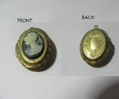 "Vintage Cameo Lady(Lucite) - 1-3/8"" Locket Pendant Brass Or Goldtone Metal"