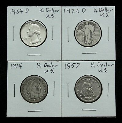 United States Silver Quarter Lot: 4 Old Silver Quarters