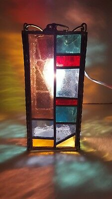 VINTAGE SWAG LAMP STAINED LEADED GLASS PANEL HANGING LIGHT MID CENTURY 9x4.5x4.5