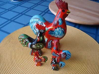 """""""family"""" Of 5 Swedish Wooden Dala Roosters Hand Made & Painted In Sweden"""