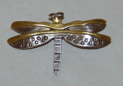 STERLING SILVER Brooch DRAGONFLY Pin FAR FETCHED Designer Piece