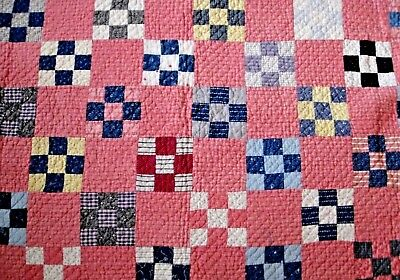 "Antique Log Cabin Quilt Hand Pieced & Quilted Red, Blue & White 72"" x 72"""