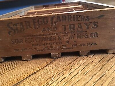 Antique Vintage Wooden Star Egg Carrier Tray Rochester NY Patent 1903 Primitive