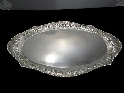 "Antique Hand Chased Repousse Coin Edge 13"" Sterling Silver Oval Tray 433 Grams"