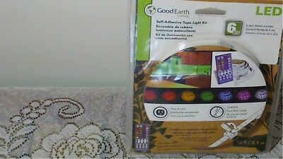 NEW  GOOD EARTH LED 12 ft  Self Adhesive Tape Light Kit. W/color changing remote