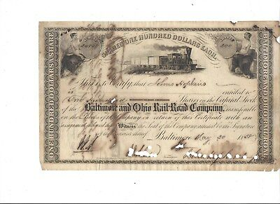 Very Rare Johns Hopkins Twice signed B&O Railroad Stock Certificate