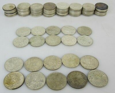 Bulk Lot Of 100 X Australian 1966 Silver Round 50 Cent Coins 50C Coin