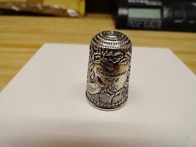 1984 Sterling Silver Franklin Mint Christmas Thimble, Cardinal