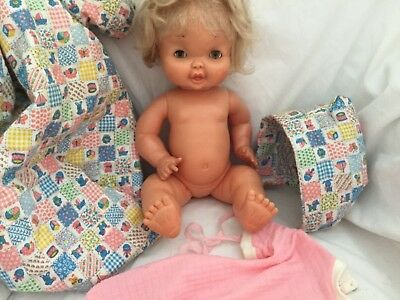 """Vintage FAMOSA Spain BABY DOLL Brown Sleep Eyes 13"""" Tall 2 OUTFITS"""