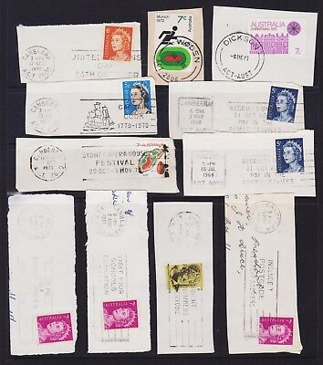 AUSTRALIA LOT OF CANBERRA & ACT POSTMARKS AND SLOGANS 1960s 1970s ON PIECE LOT 4
