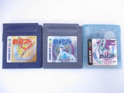 Nintendo GB GAME BOY Color soft Pokemon Gold Silver Crystal set Japan Import JP