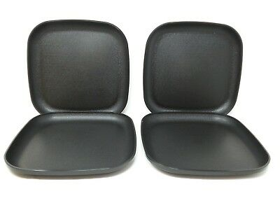 "Tupperware 4 Luncheon Square Plates 8"" Black Jet New"