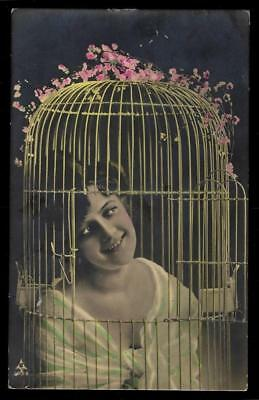 1¢ Wonder's ~ 1908 Real Photo Postcard W/ Pretty Lady In Bird Cage ~ R636