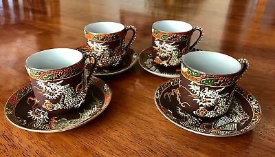 Moriage Dragon Ware demitasse set of 4 coffee cups and saucers