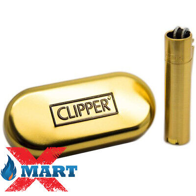1x Gold Full Size Refillable Adjustable Flame Metal Clipper Lighter