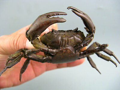 Rare Chinese Old Collectible Copper Hand Carved Big Crab Figure Statue