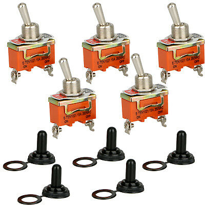 5X Toggle SWITCH ON/OFF Heavy Duty 30A 125V SPST 2 Terminal Car Boat Waterproof