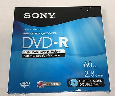 2 pack SONY Handycam DVD-R 60 Minute Double Sided Accucore 2.8 GB Sealed genuine