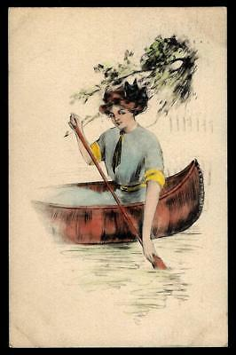 1¢ Wonder's ~ 1909 Postcard W/ Pretty Lady In Canoe ~ R626