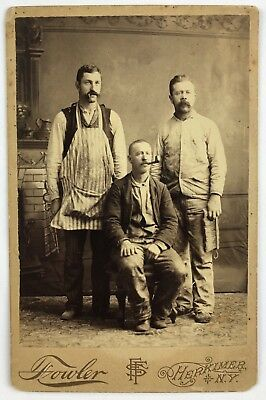 Occupational Cabinet Card Photograph. Group of Wallpaper Hangers 1870s Paper