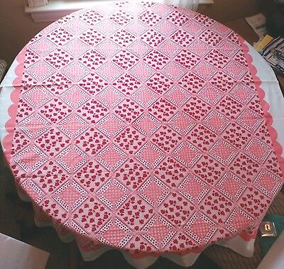 Vintage tablecloth oblong 68x53  Pink Red Strawberries Flowers mid century retro