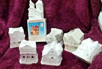 NEW Lot of 7 Ceramic Bisque Village Houses Ready-To-Paint 4 & 1/2 inch