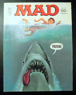MAD Magazine #180 Jaws Shark Cover 1976 EX