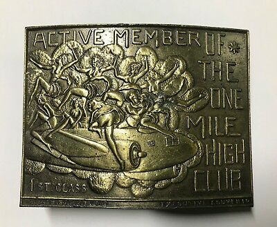 """Vintage Brass Belt Buckle 3 1/2 by 2 1/4 """"Mile High Club"""" Lewis Buckles Chicago"""