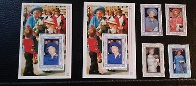 Queen Mother . Barbuda 1335-9 and Antigua 1328 .  sal's stamp store.