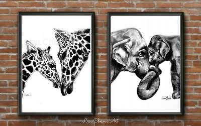 Mother and Baby Elephant and Giraffe Prints, Safari Animal Art, Nursery Decor