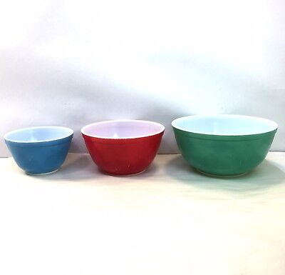 Vintage Lot Of 3 Pyrex Primary Colors Nesting Mixing Bowls 401 402 403