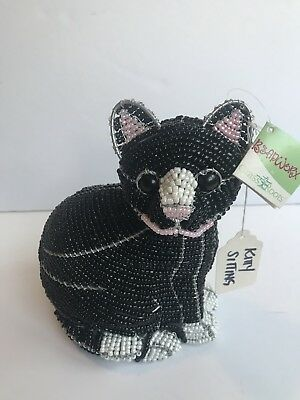 Black Cat Figure Beadworx Grassroots Creations Beaded Hand Crafted Cat NWT $59