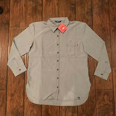 NWT THE NORTH FACE Women's Long Sleeve Stevie Woven Grey Blue Shirt Size Medium