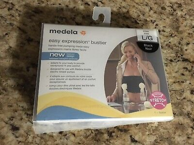 Medela Easy Expression Bustier Large /  Black HANDS FREE Double Pumping Bra NEW