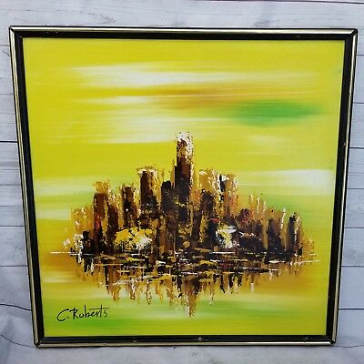 Vintage Mid Century C. Roberts Abstract Cityscape Acrylic Painting Framed MCM