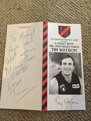 A Night With Mr Unforgettable Tim Watson Menu Autographed (Essendon AFL)