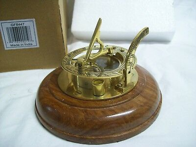 Solid Brass Sundial Compass with Wood Base Made in India