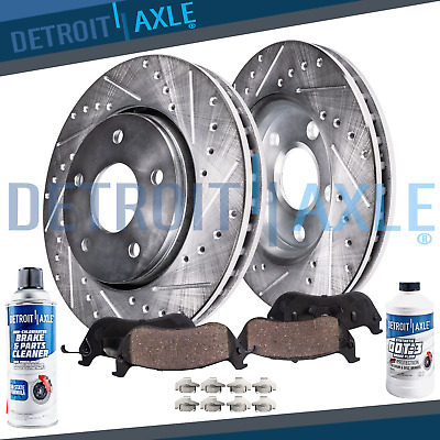 2013 2014 Lincoln MKS MKT Rear Drilled and Slotted Brake Rotors + Ceramic Pads