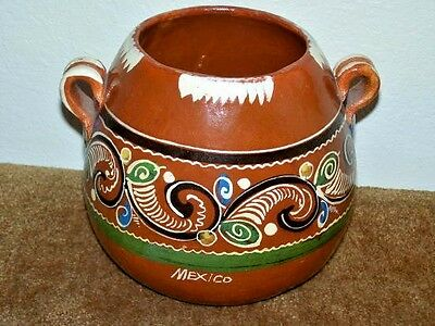 Estate: Stunning Vintage Large Red Clay Bean Pot W/handles  Mexico Collectible