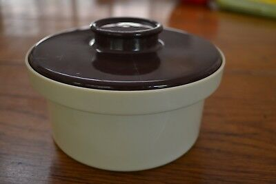 VINTAGE RETRO DECOR PLASTIC MARGARINE CONTAINER Brown/Beige Australian Made Cool