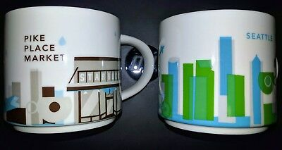 Set of 2 You Are Here Starbucks Seattle & Pike Place 1st Store Coffee 14 oz Mugs
