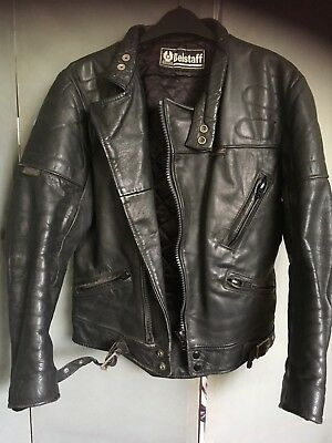 Belstaff Motorbike Motorcycle Leather Jacket Black UK 36