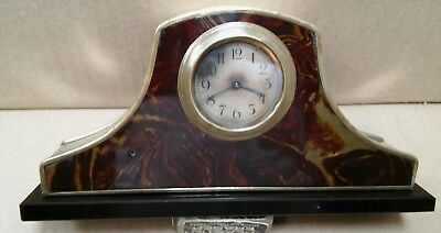 Antique 1920s brass and black glass small mantel clock Germany - Serviced works