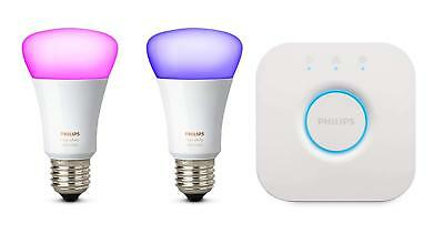 Philips Hue White and Colour Ambiance Mini Starter Kit E27 10W Twin Pack 2 bulb