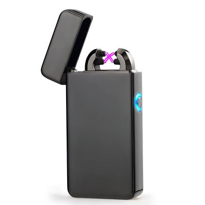 US USB Rechargeable Windproof Flameless Electric Double Arc Pulse Plasma Lighter