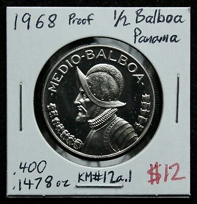 1968 1/2 Balboa Proof Panama Silver Coin